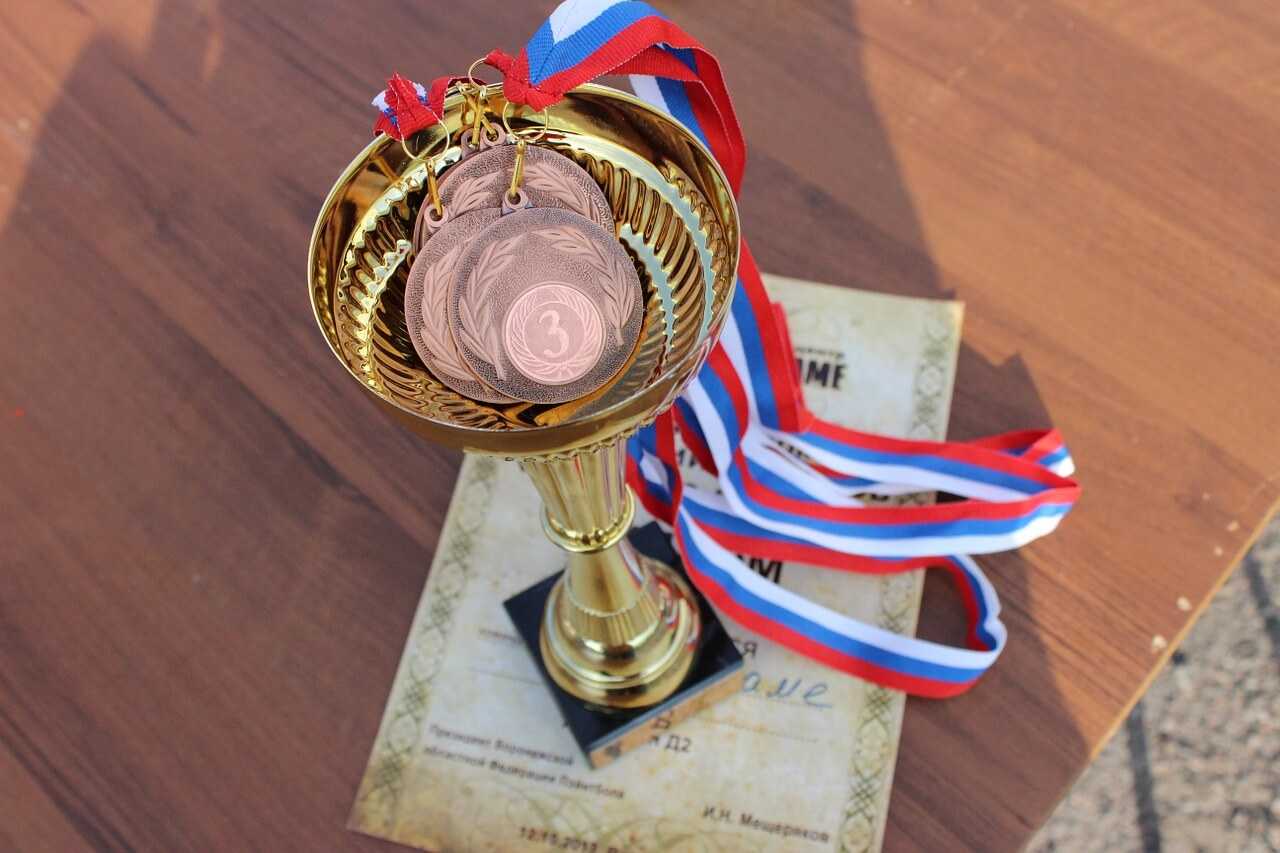 trophy and medals for company award ceremony